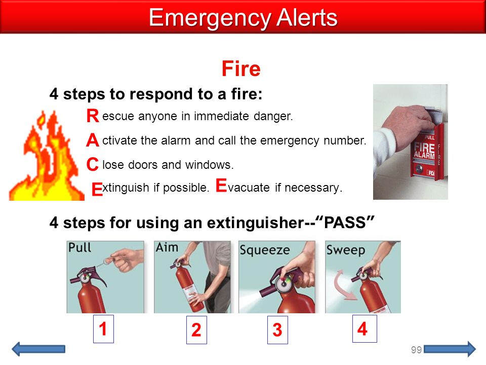 Fire Emergency Alerts ctivate the alarm and call the emergency number.