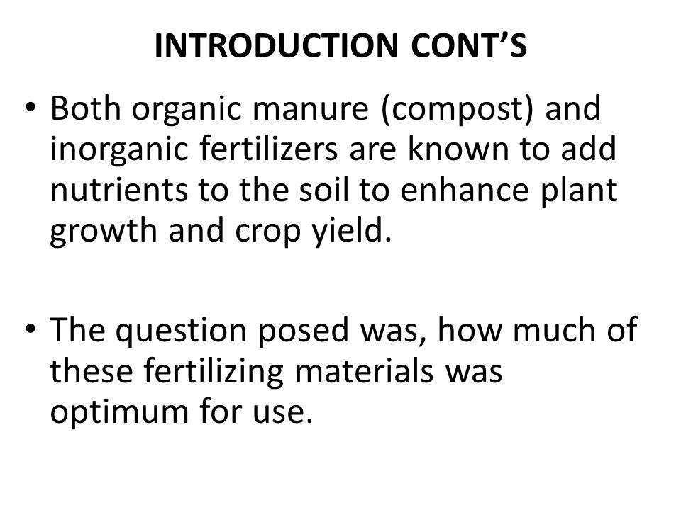 effect of organic fertilizer on farming