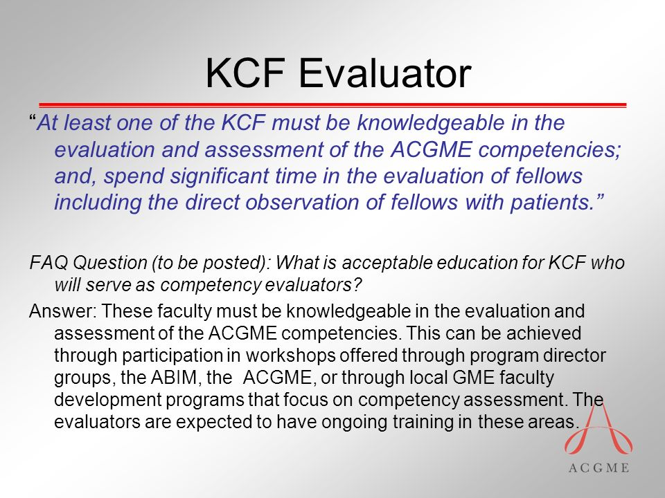 Accreditation Council for Graduate Medical Education Updates