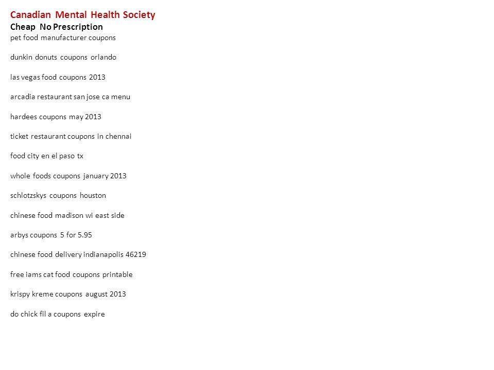 Canadian Mental Health Society Cheap No Prescription Pet Food