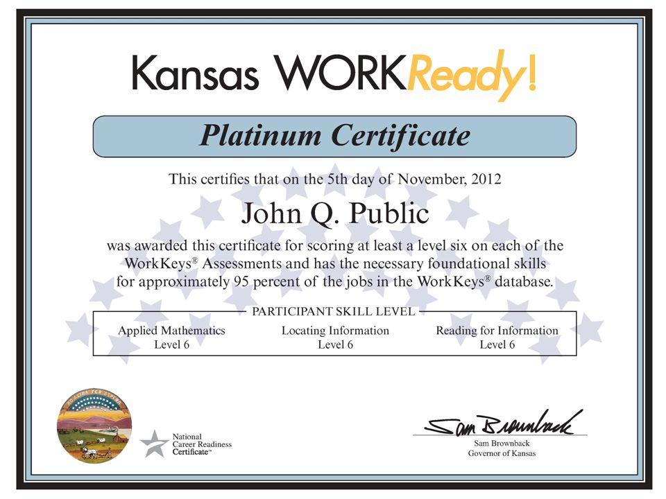 Kansas WORKReady! Certificate KANSASWORKS State Board. - ppt download