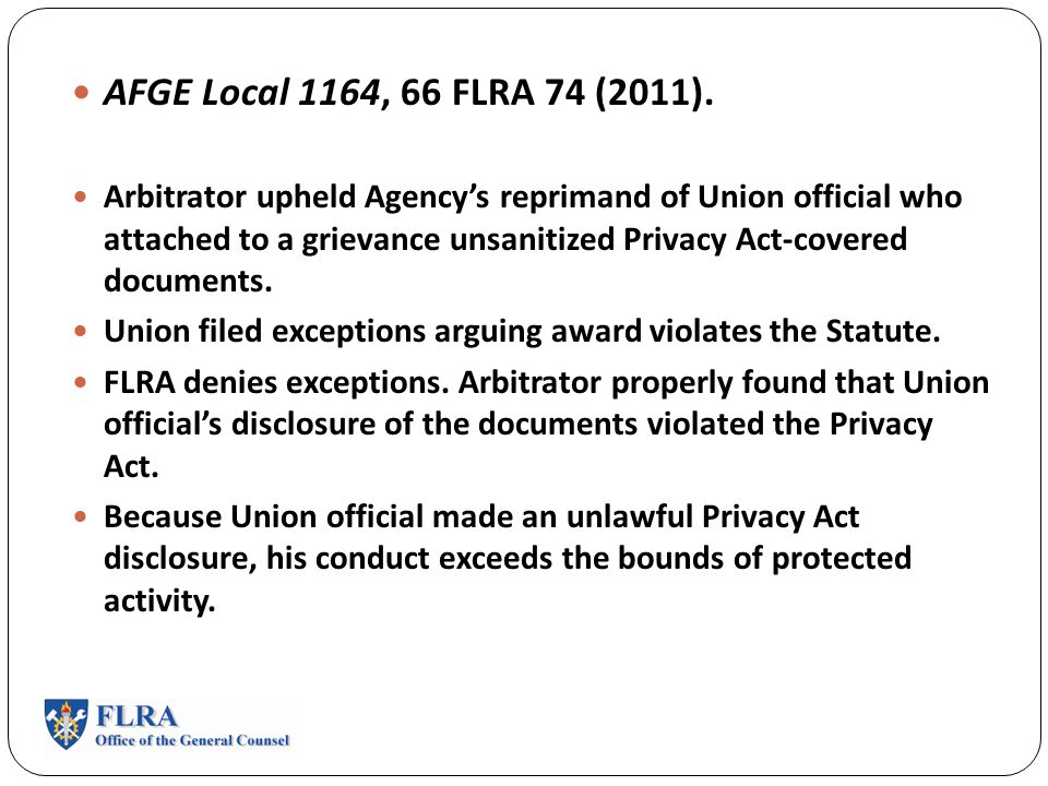 Federal Labor Relations Authority Case Law Update 49 Th Nffe