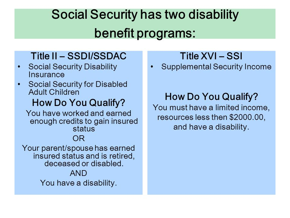 Brief Overview of Social Security Disability Benefits Title