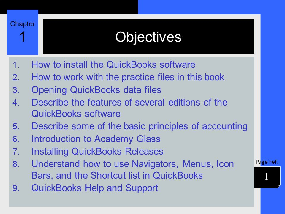Chapter 1 Page ref  Chapter 1 Introducing QuickBooks ppt