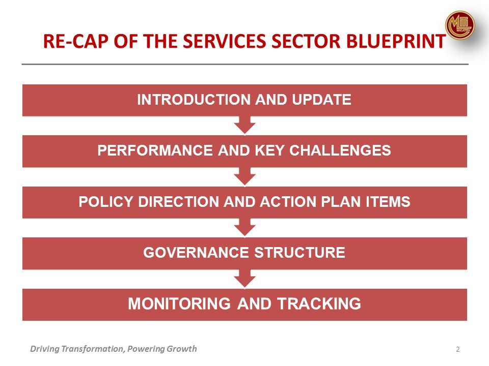 Re cap of the services sector blueprint update on services 2 re cap of the services sector blueprint driving transformation powering growth 2 monitoring and tracking governance structure policy direction and action malvernweather Choice Image