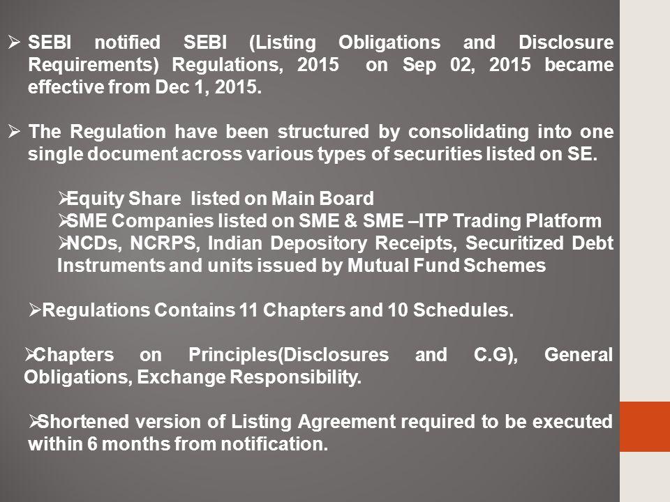 Sebi Listing Obligations Disclosure Requirements Regulations