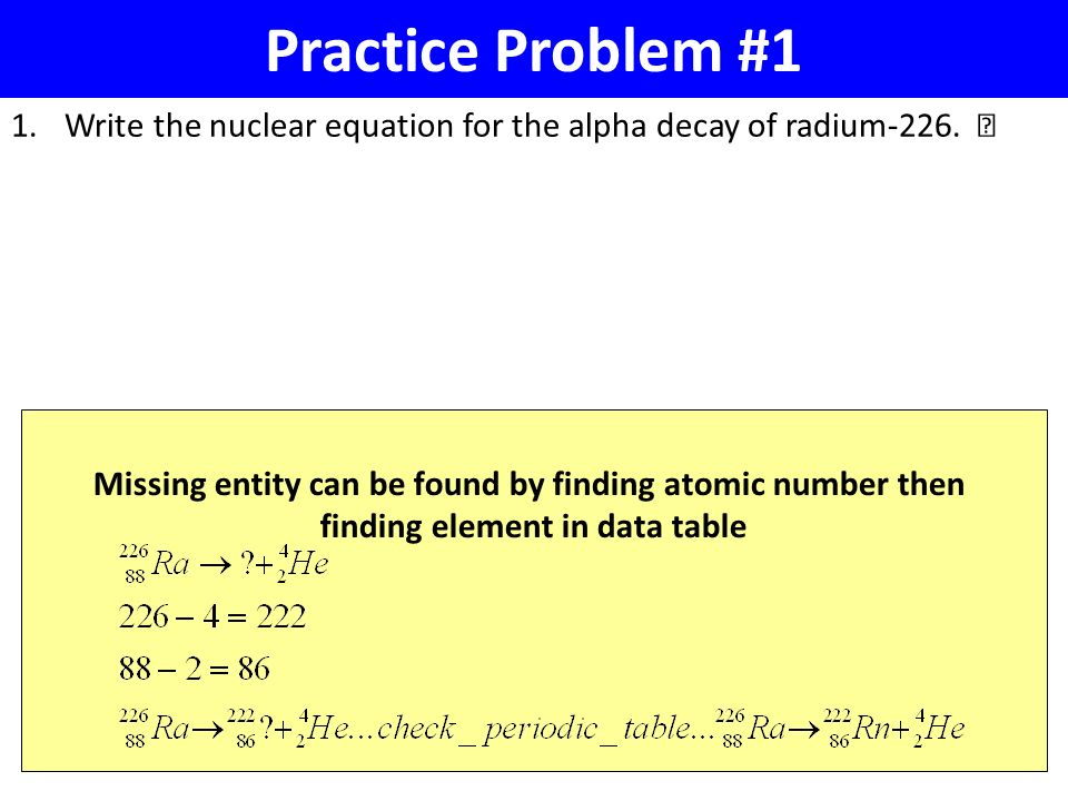 nuclear equation problems