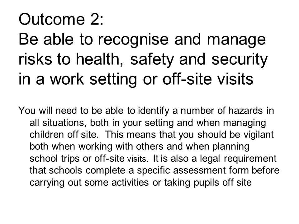 identify potential risks and hazards in a learning environment
