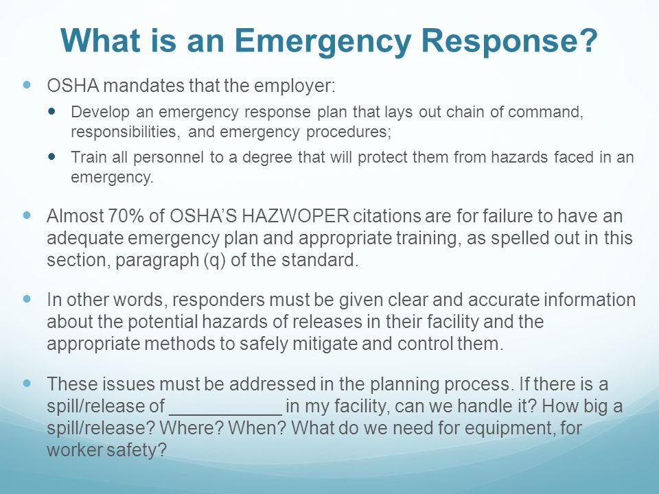 OSHA REGULATIONS EMERGENCIES  CHEMICAL EMERGENCY RESPONSE