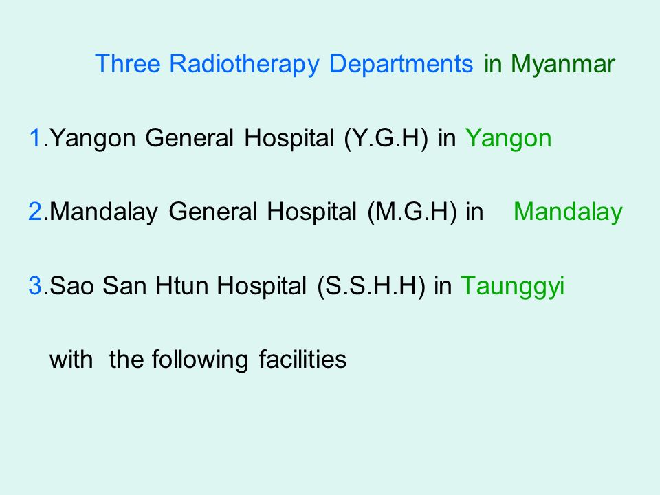 Current Status of Radiotherapy In Myanmar Dr  Thida San Professor