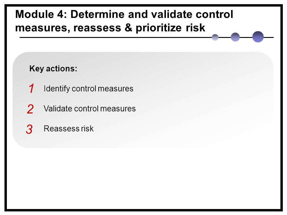 Key actions: Identify control measures Validate control measures Reassess risk Module 4: Determine and validate control measures, reassess & prioritize risk 1 2 3