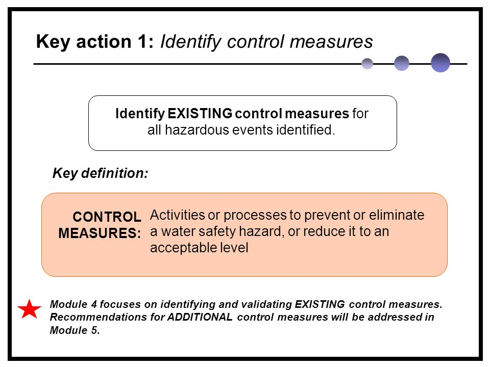 Key action 1: Identify control measures Activities or processes to prevent or eliminate a water safety hazard, or reduce it to an acceptable level CONTROL MEASURES: Identify EXISTING control measures for all hazardous events identified.