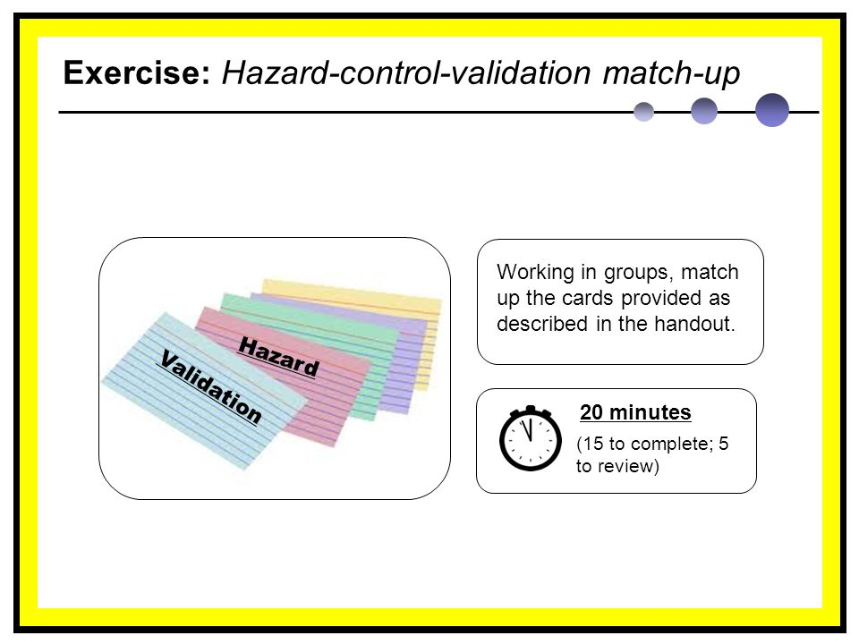Exercise: Hazard-control-validation match-up Working in groups, match up the cards provided as described in the handout.