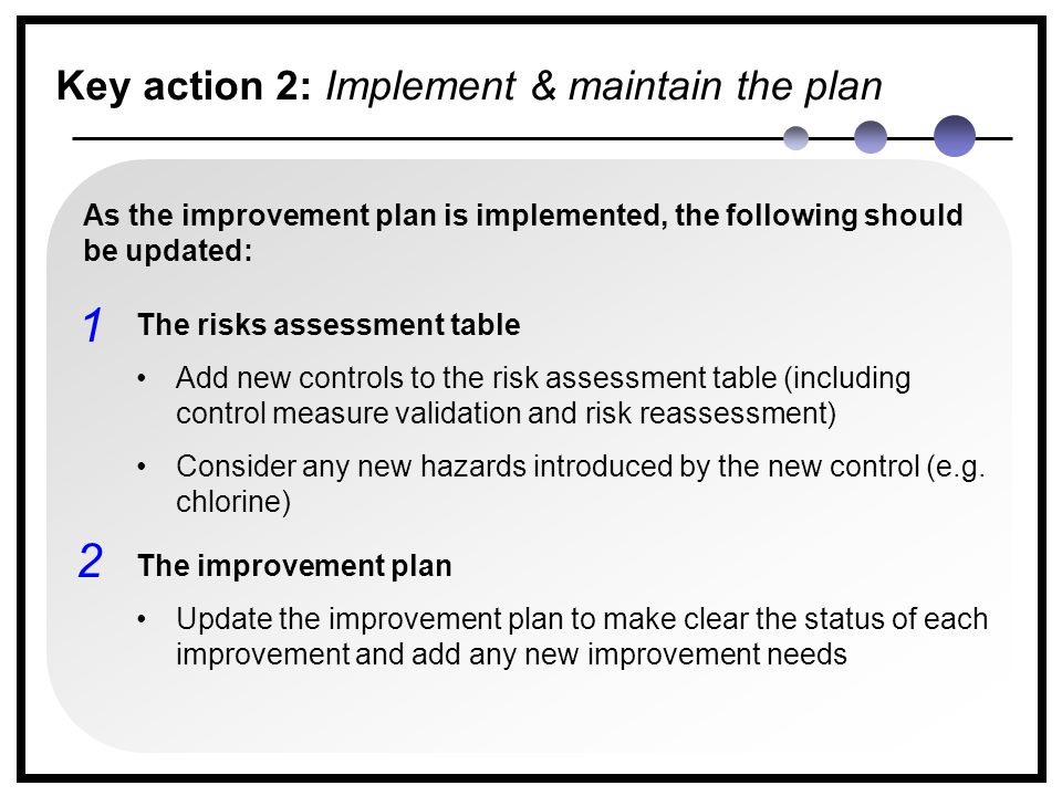 2 1 As the improvement plan is implemented, the following should be updated: The risks assessment table Add new controls to the risk assessment table (including control measure validation and risk reassessment) Consider any new hazards introduced by the new control (e.g.