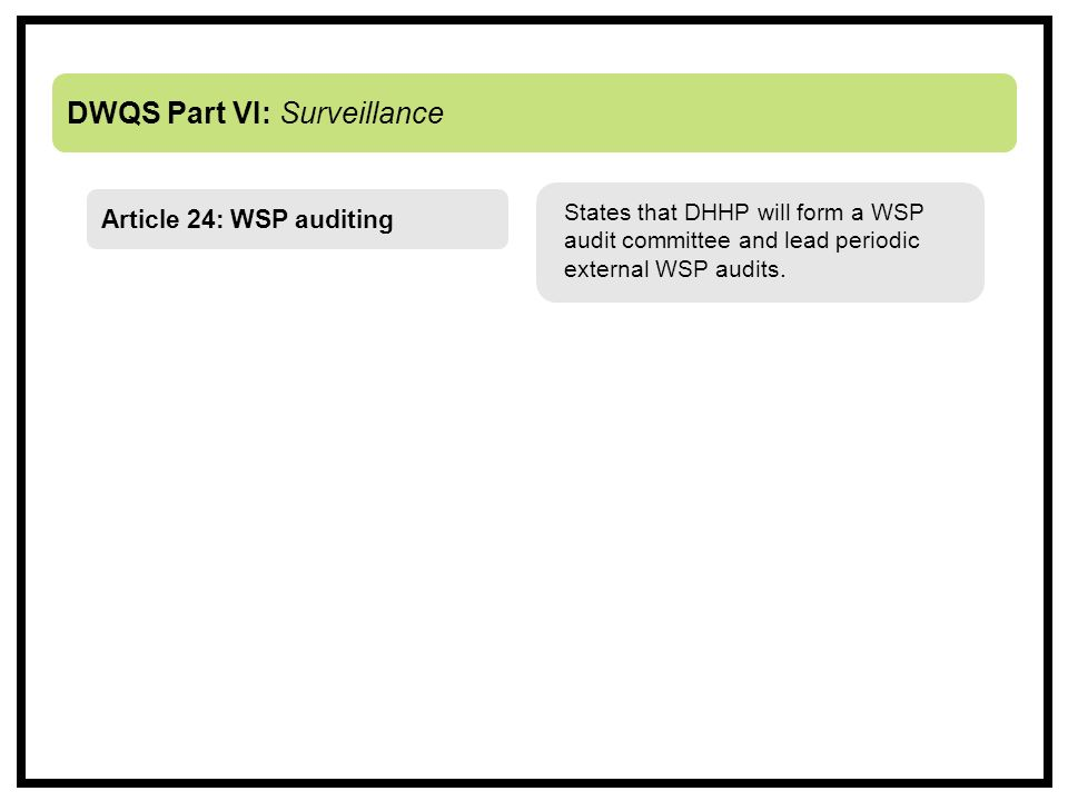 DWQS Part VI: Surveillance States that DHHP will form a WSP audit committee and lead periodic external WSP audits.