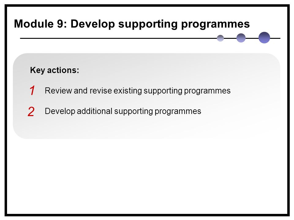 Key actions: Review and revise existing supporting programmes Develop additional supporting programmes 1 2 Module 9: Develop supporting programmes