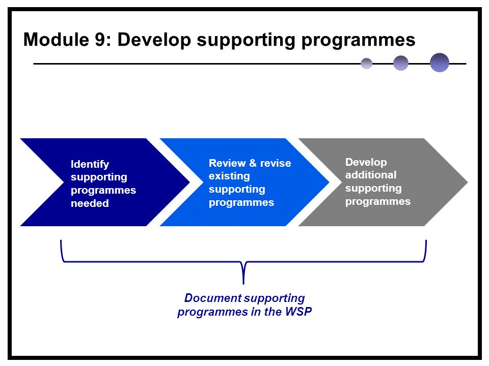 Module 9: Develop supporting programmes Identify supporting programmes needed Review & revise existing supporting programmes Develop additional supporting programmes Document supporting programmes in the WSP