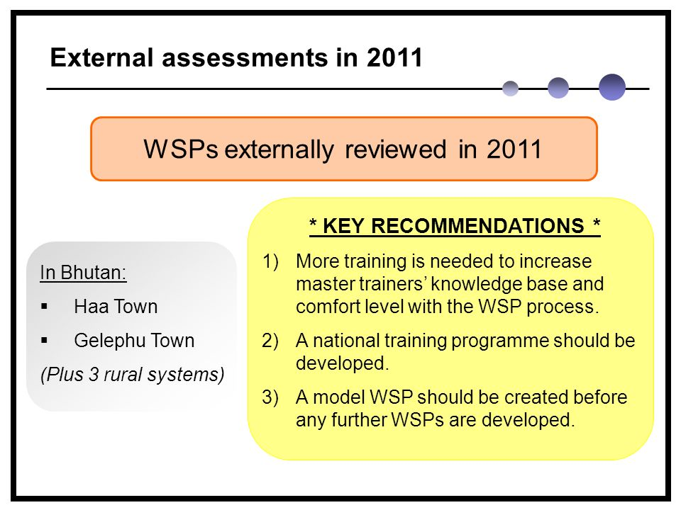 External assessments in 2011 WSPs externally reviewed in 2011 * KEY RECOMMENDATIONS * 1)More training is needed to increase master trainers' knowledge base and comfort level with the WSP process.