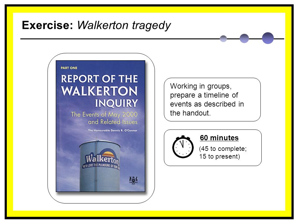 Exercise: Walkerton tragedy Working in groups, prepare a timeline of events as described in the handout.