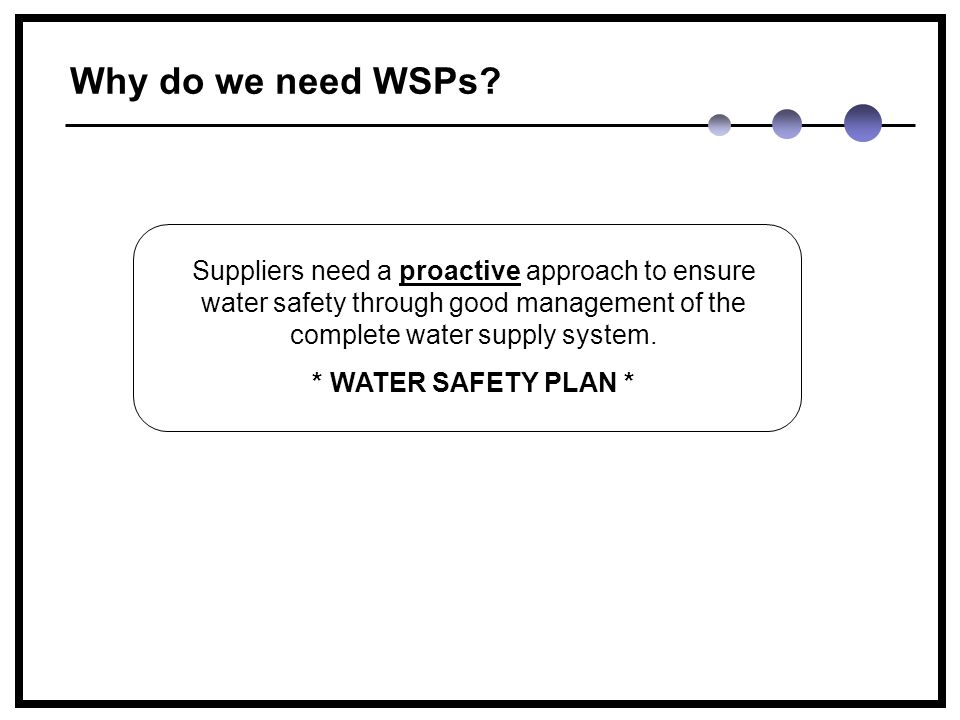Why do we need WSPs.