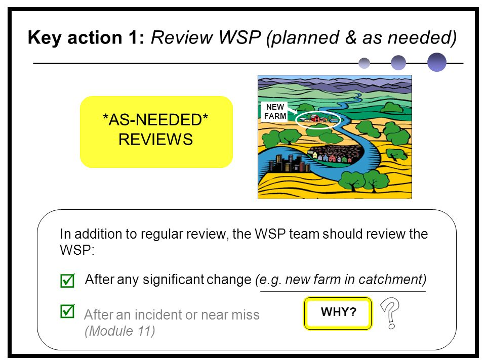 Key action 1: Review WSP (planned & as needed) In addition to regular review, the WSP team should review the WSP: After any significant change (e.g.