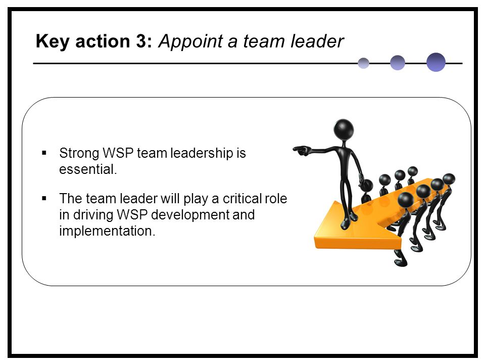 Key action 3: Appoint a team leader  Strong WSP team leadership is essential.