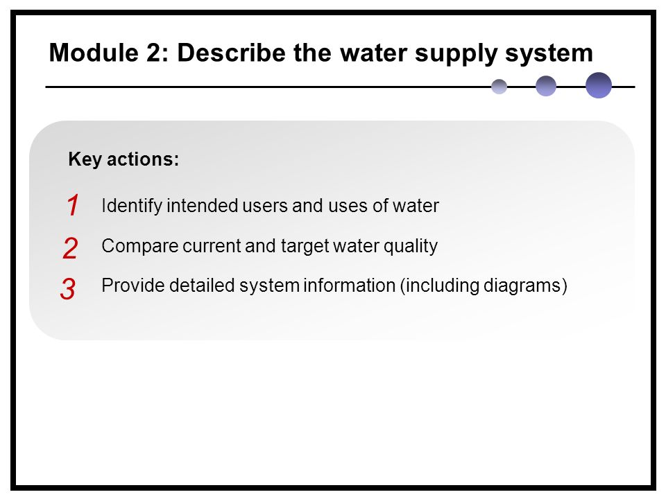 Module 2: Describe the water supply system Key actions: Identify intended users and uses of water Compare current and target water quality Provide detailed system information (including diagrams) 1 2 3