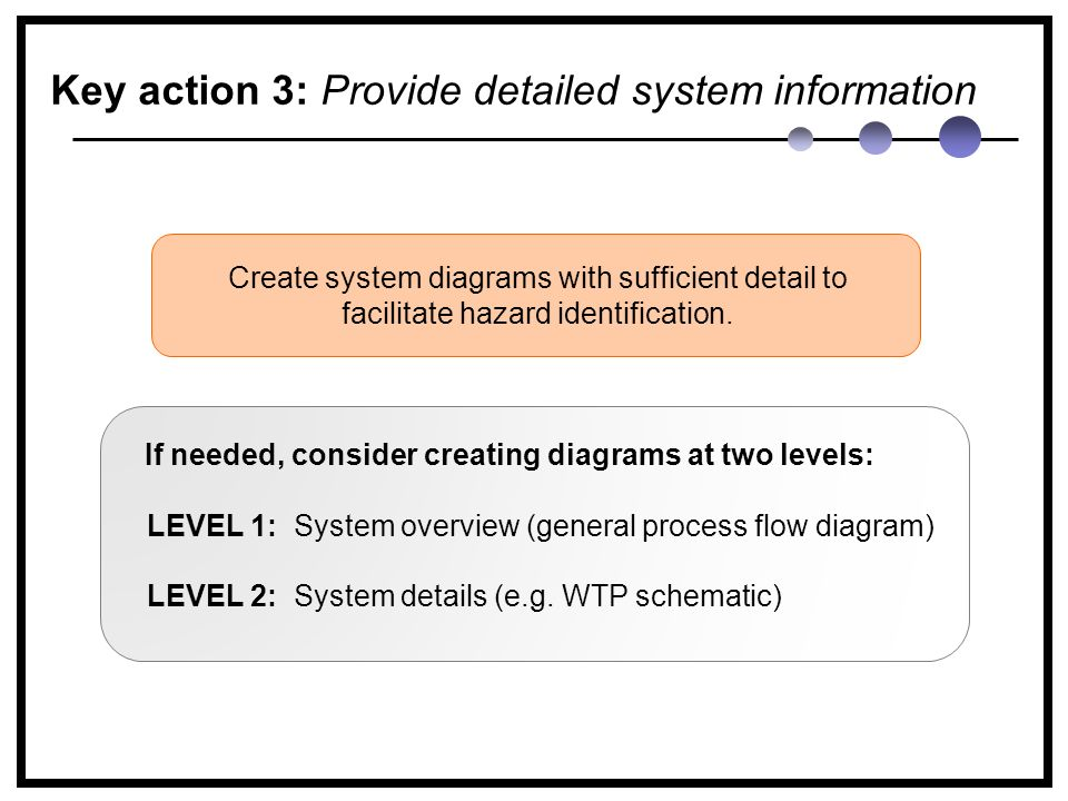 Key action 3: Provide detailed system information If needed, consider creating diagrams at two levels: Create system diagrams with sufficient detail to facilitate hazard identification.