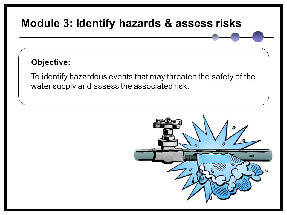 Module 3: Identify hazards & assess risks Objective: To identify hazardous events that may threaten the safety of the water supply and assess the associated risk.