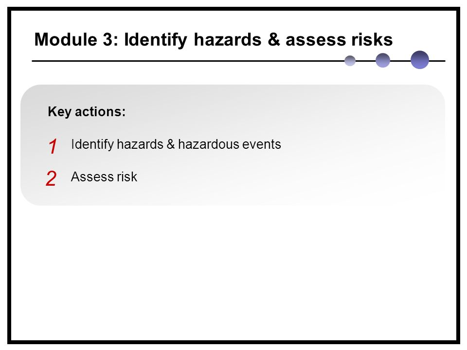 Module 3: Identify hazards & assess risks Key actions: Identify hazards & hazardous events Assess risk 1 2