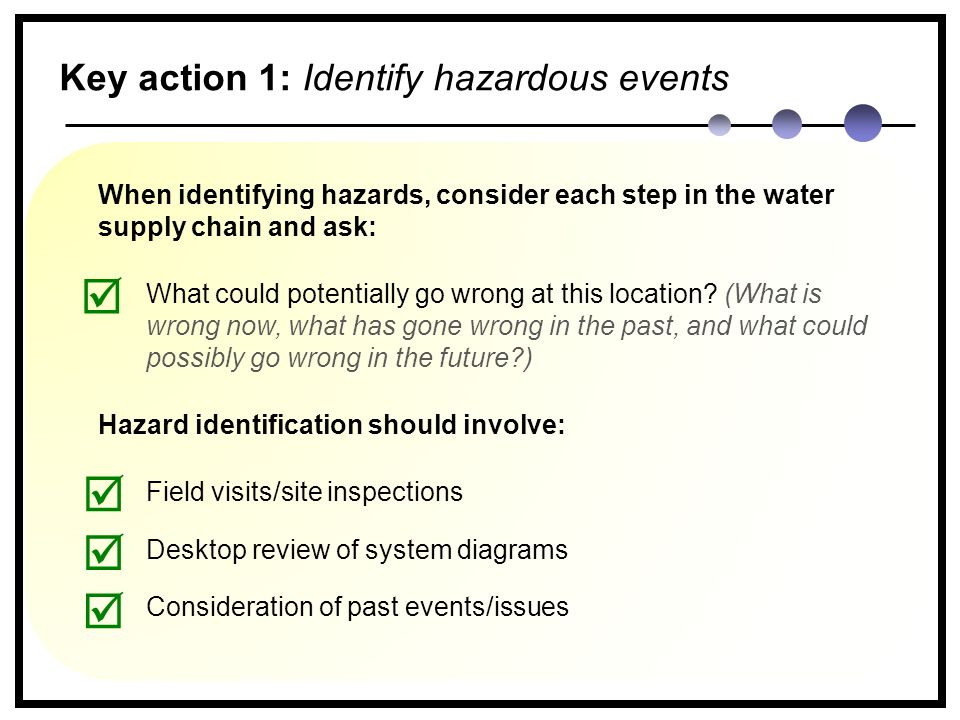 When identifying hazards, consider each step in the water supply chain and ask: What could potentially go wrong at this location.