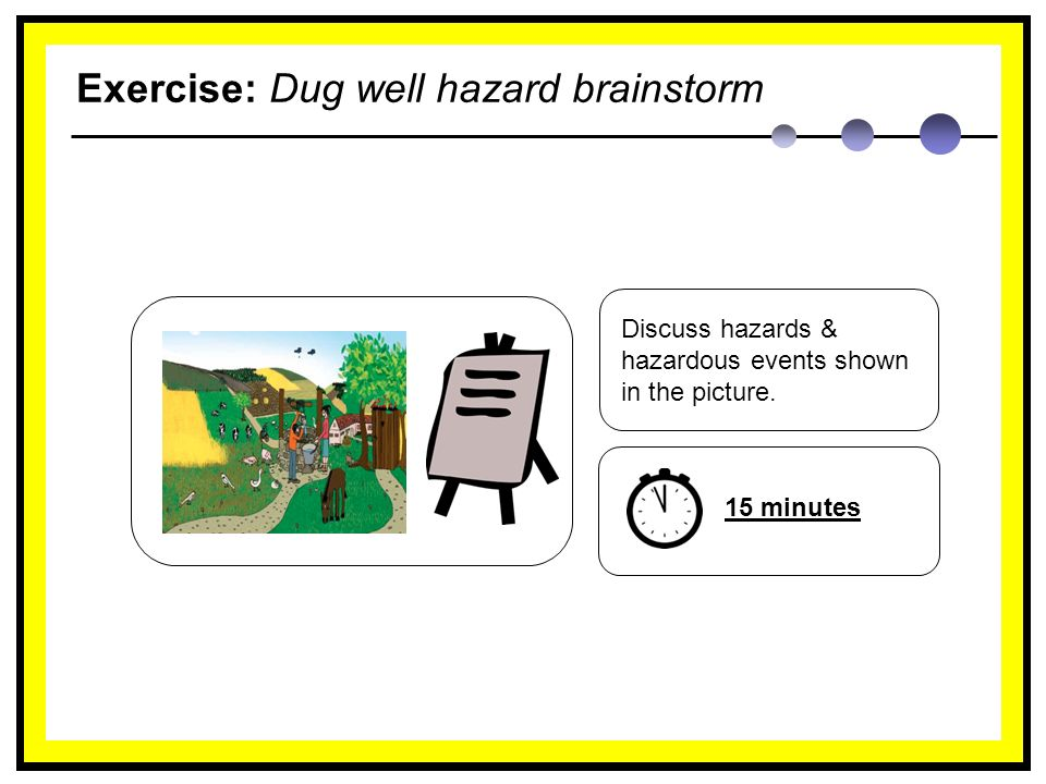 Exercise: Dug well hazard brainstorm Discuss hazards & hazardous events shown in the picture.