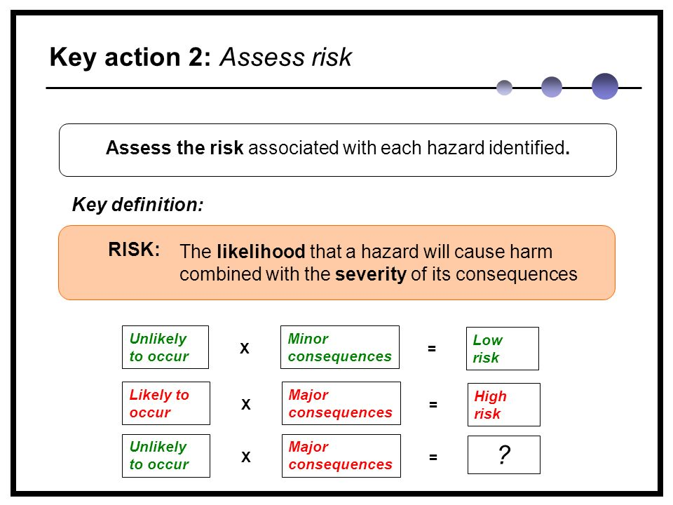 Key action 2: Assess risk The likelihood that a hazard will cause harm combined with the severity of its consequences RISK: Assess the risk associated with each hazard identified.
