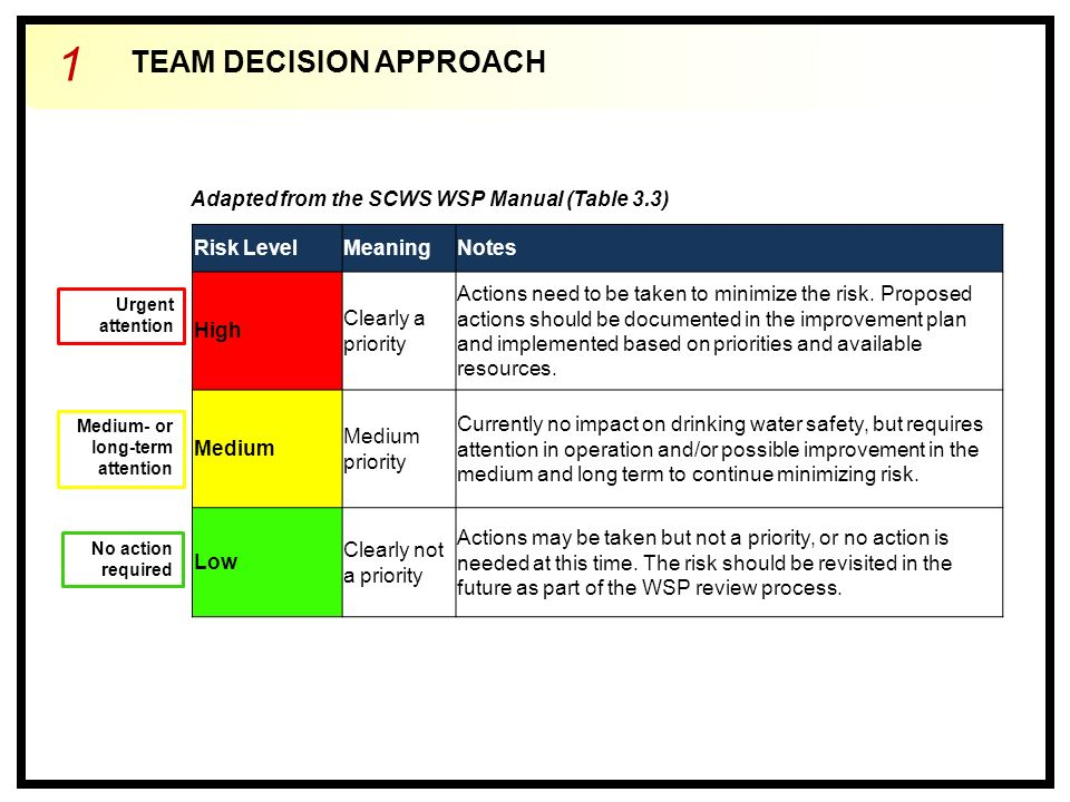 TEAM DECISION APPROACH 1 Risk LevelMeaningNotes High Clearly a priority Actions need to be taken to minimize the risk.