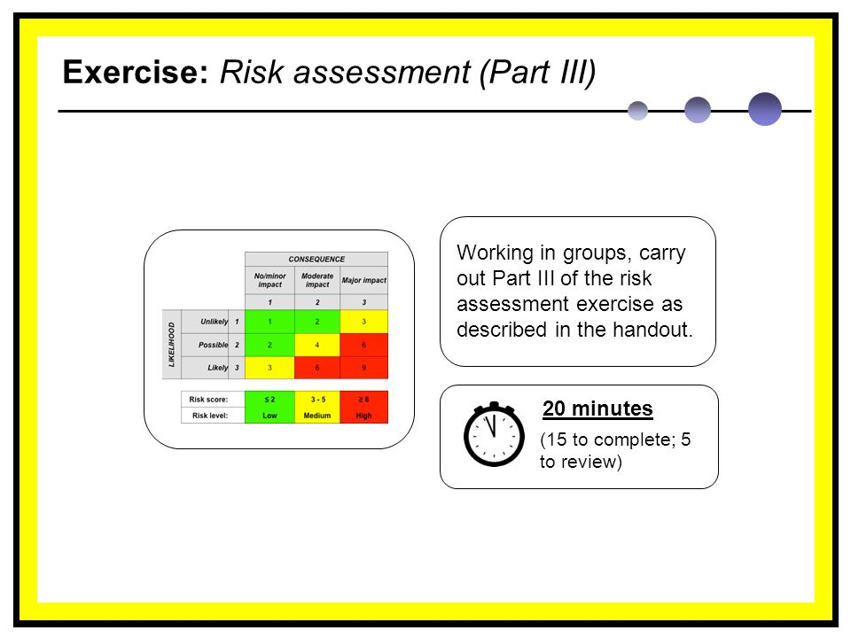 Exercise: Risk assessment (Part III) Working in groups, carry out Part III of the risk assessment exercise as described in the handout.