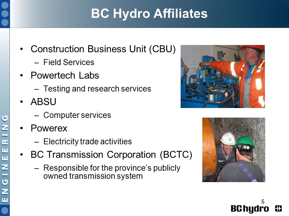 1 Larry Pope, Senior Mechanical Engineer BC Hydro, Vancouver