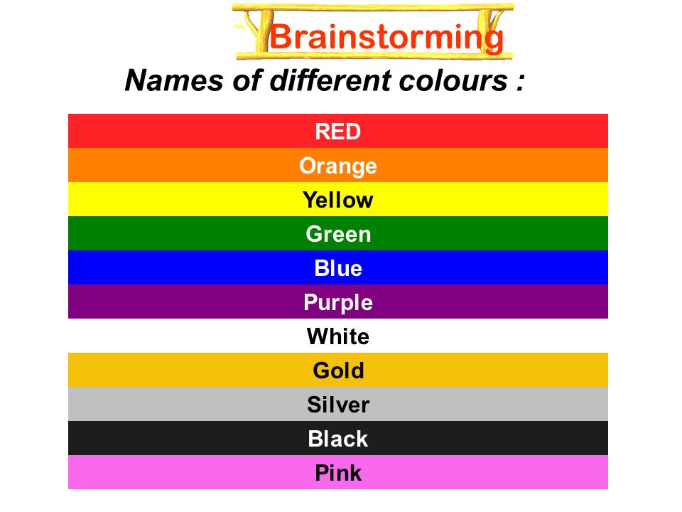 2 Names Of Diffe Colours Red Orange Yellow Green Blue Purple White Gold Silver Black Pink Brainstorming