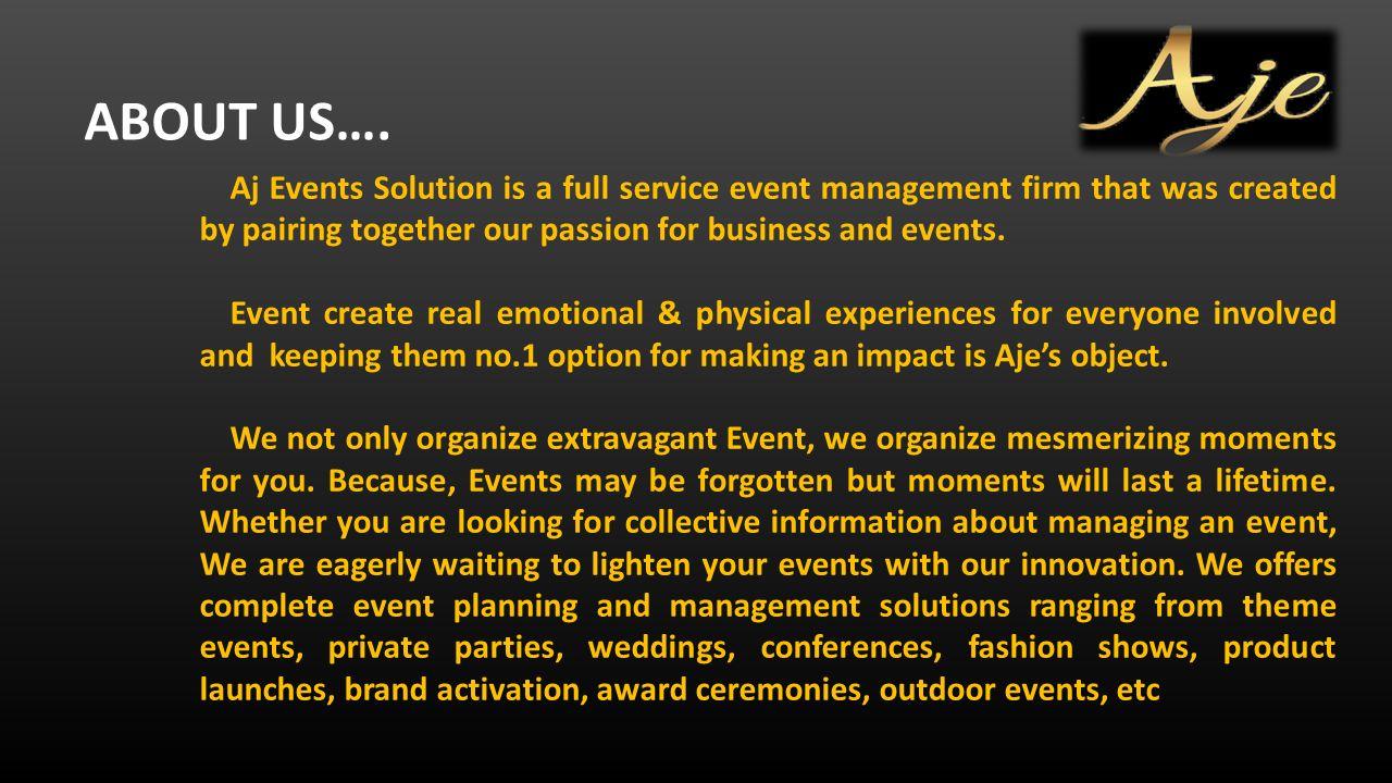 Formato PDF COMPANY PROFILE ABOUT US…  Aj Events Solution Is
