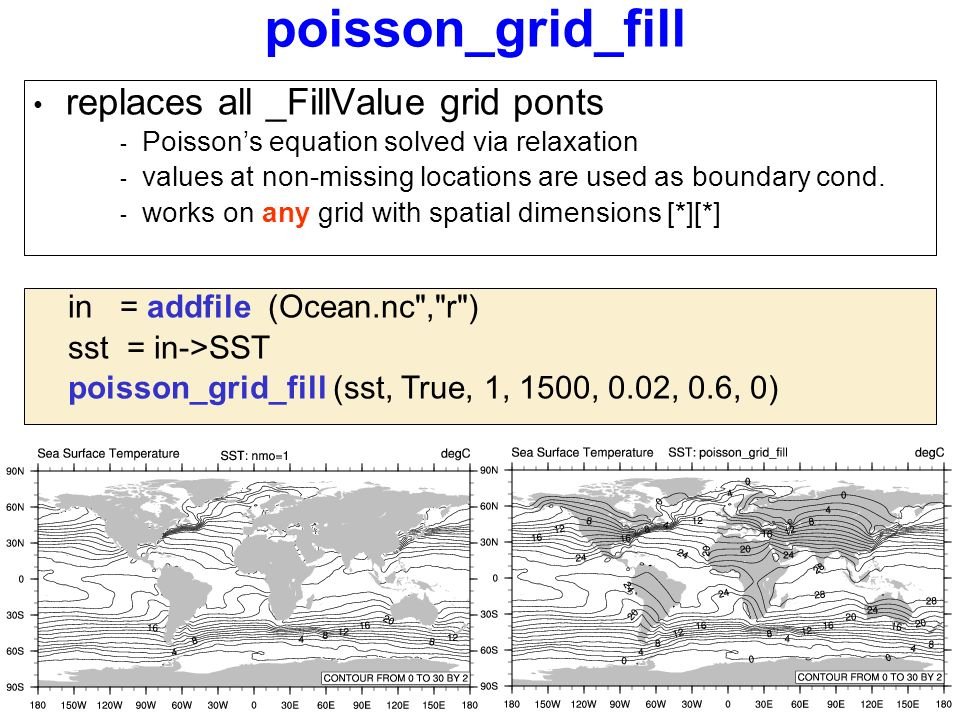 poisson_grid_fill replaces all _FillValue grid ponts - Poisson's equation solved via relaxation - values at non-missing locations are used as boundary cond.