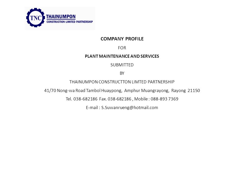 1 Company Profile For Plant Maintenance And Services