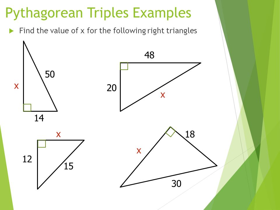 Pythagorean triples examples math theorem word problems worksheet.