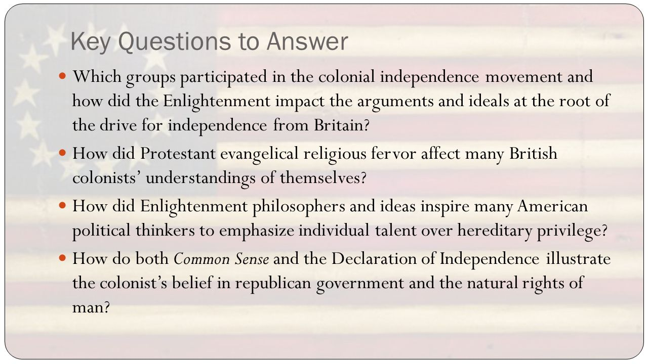 how did the enlightenment affect the colonies