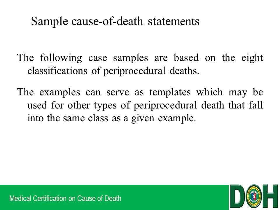 Medical Certification On Cause Of Death Options For Writing Cause Of