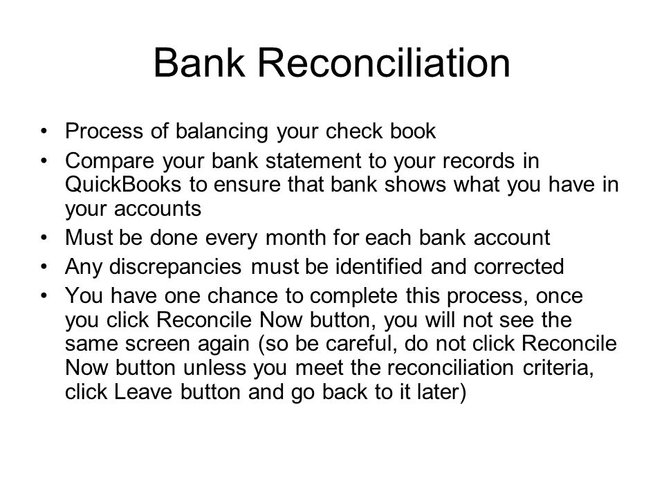 bank reconciliation process of balancing your check book compare