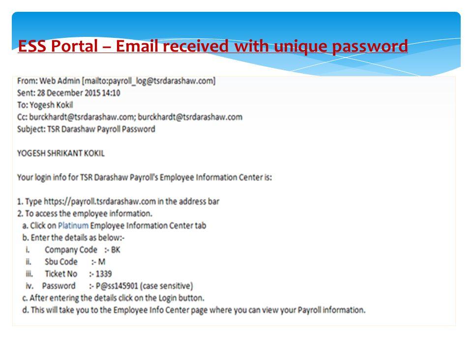 EMPLOYEE SELF SERVICE PORTAL (PROCESS DOCUMENT)  ESS Portal