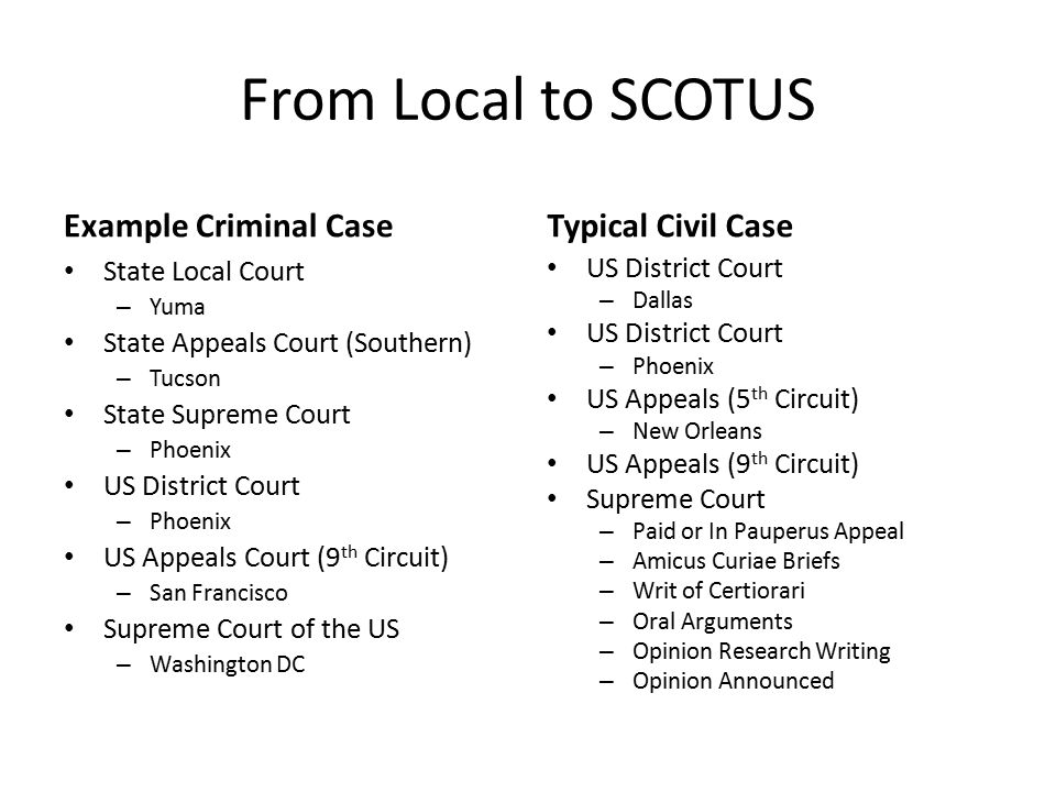 Criminal court cases examples