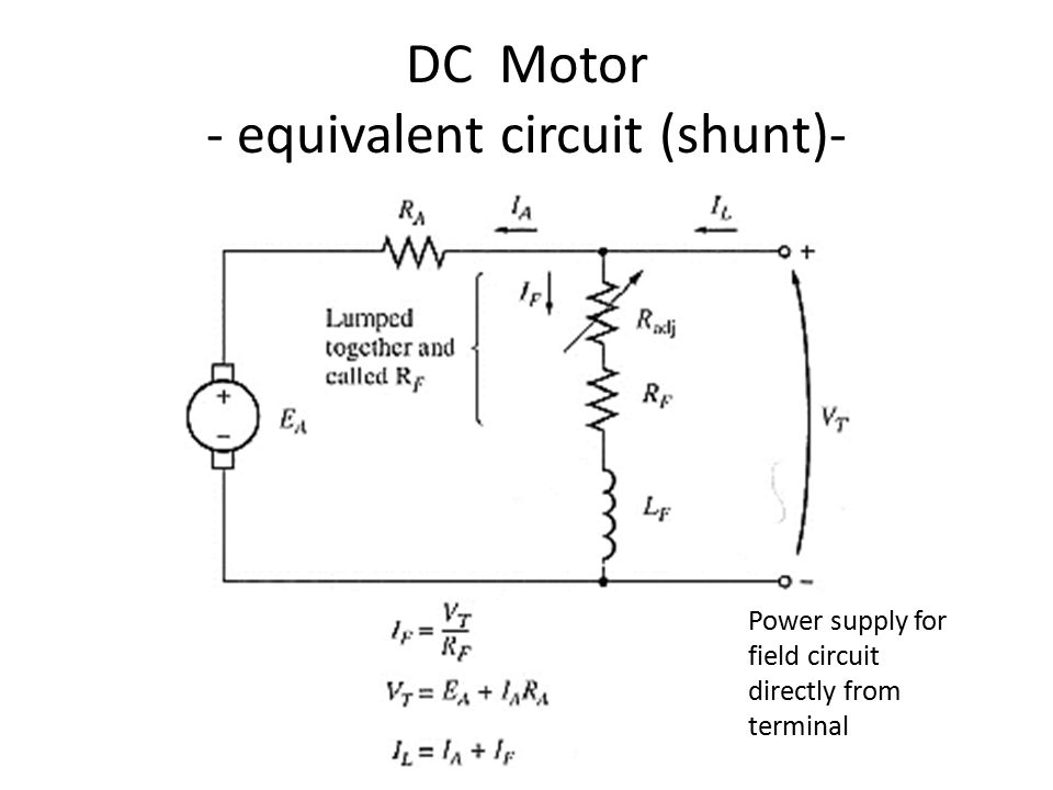 7 DC Motor - equivalent circuit (shunt)- Power supply for field circuit directly from terminal