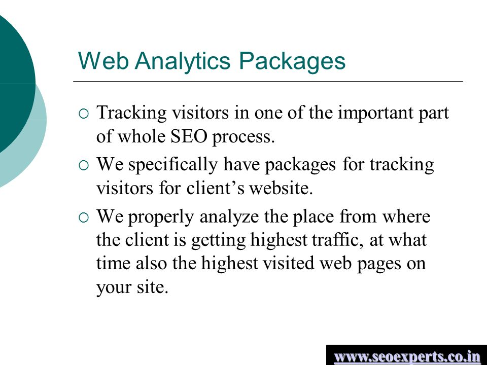 Web Analytics Packages  Tracking visitors in one of the important part of whole SEO process.
