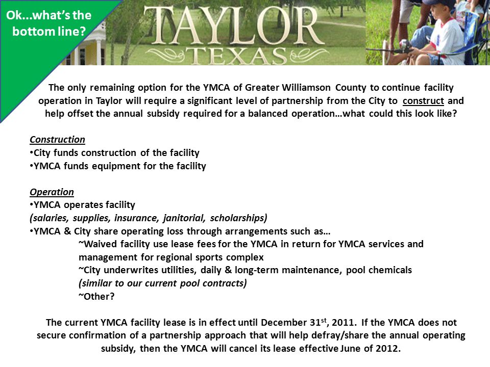 Taylor Family YMCA      let's take a look back and forward! - ppt
