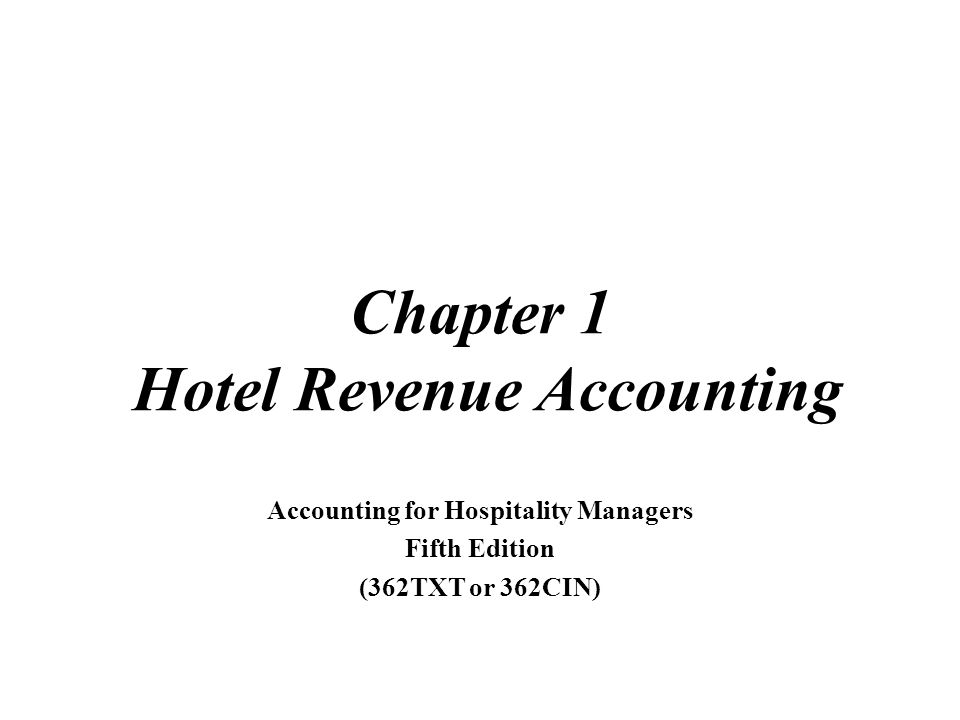 2007 Educational Institute Chapter 1 Hotel Revenue Accounting